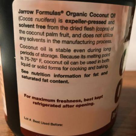 Jarrow Formulas, Organic Coconut Oil, Expeller Pressed, 16 fl oz (473 g) Review
