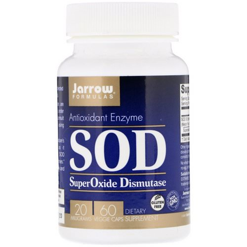 Jarrow Formulas, SuperOxide Dismutase (SOD), 20 mg, 60 Veggie Caps Review