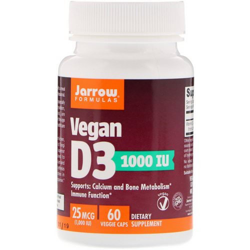 Jarrow Formulas, Vegan D3, 25 mcg (1000 IU), 60 Veggie Caps Review