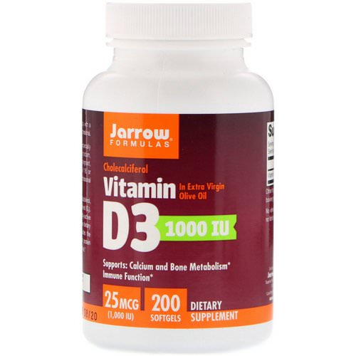 Jarrow Formulas, Vitamin D3, Cholecalciferol, 1,000 IU, 200 Softgels Review