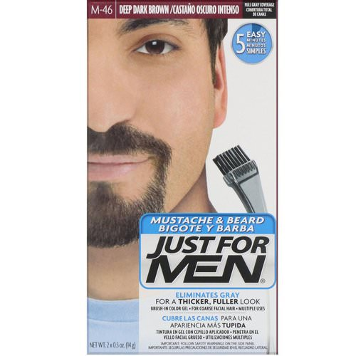 Just for Men, Mustache & Beard, Brush-In Color Gel, Deep Dark Brown M-46, 2 x 0.5 oz (14 g) Review