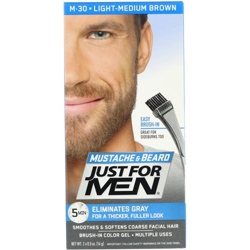 Just for Men, Mustache & Beard, Brush-In Color Gel, Light-Medium Brown M-30, 2 x 0.5 oz (14 g) Review