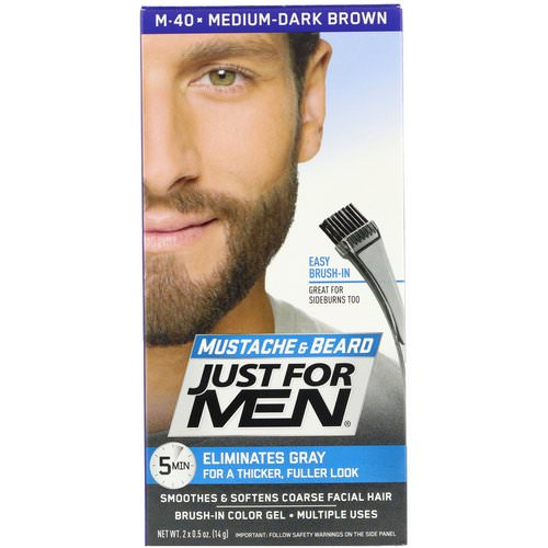 Just for Men, Mustache & Beard, Brush-In Color Gel, Medium-Dark Brown M-40, 2 x 0.5 oz (14 g) Review