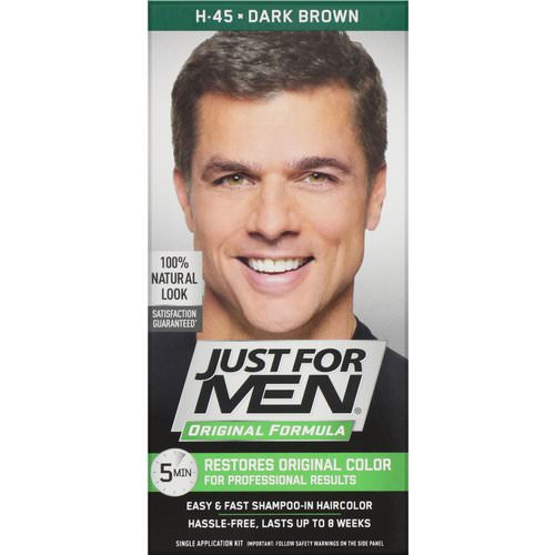 Just for Men, Original Formula Men's Hair Color, Dark Brown H-45, Single Application Kit Review