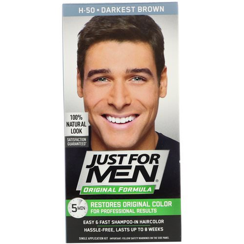 Just for Men, Original Formula Men's Hair Color, Darkest Brown H-50, Single Application Kit Review