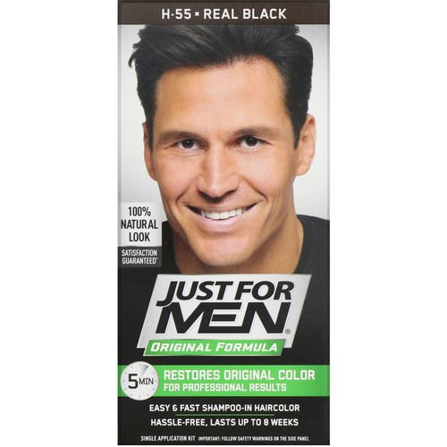 Just for Men, Original Formula Men's Hair Color, Real Black H-55, Single Application Kit Review