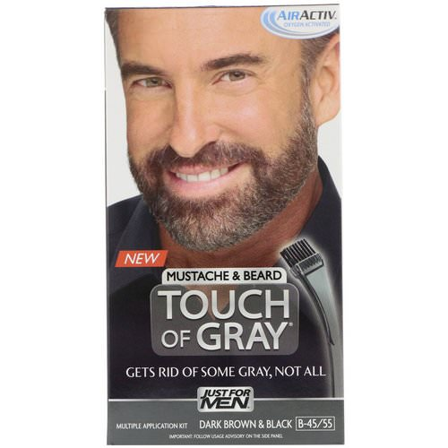Just for Men, Touch of Gray, Mustache & Beard, Dark Brown & Black B-45/55, 1 Multiple Application Kit Review