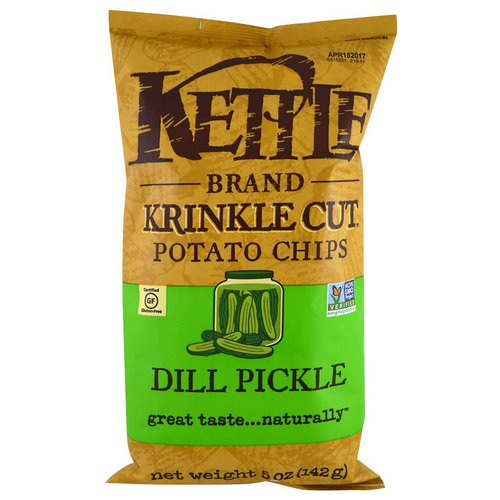 Kettle Foods, Krinkle Cut Potato Chips, Dill Pickle, 5 oz (142 g) Review