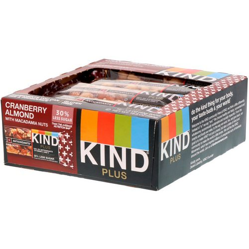 KIND Bars, Kind Plus, Cranberry Almond + Antioxidants with Macadamia Nuts, 12 Bars, 1.4 oz (40 g) Each Review