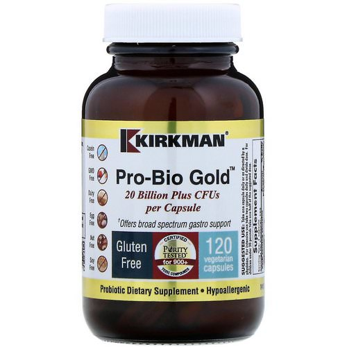 Kirkman Labs, Pro-Bio Gold, Hypoallergenic, 20 Billion Plus CFUs, 120 Vegetarian Capsules (Ice) Review