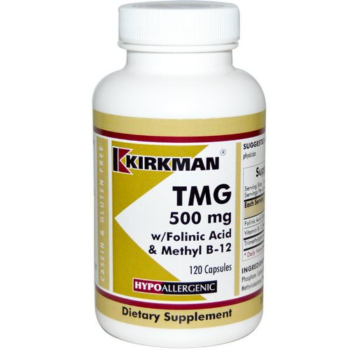 Kirkman Labs, TMG, With Folinic Acid & Methyl B-12, 500 mg, 120 Capsules Review