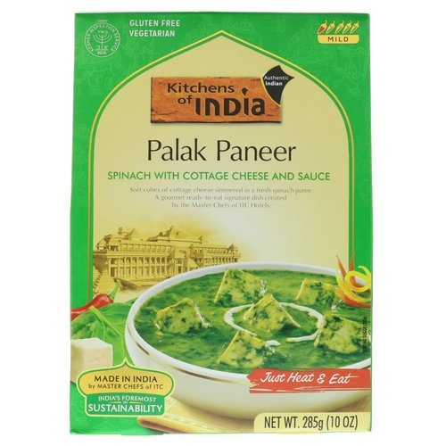 Kitchens of India, Palak Paneer, Spinach with Cottage Cheese and Sauce, Mild, 10 oz (285 g) Review