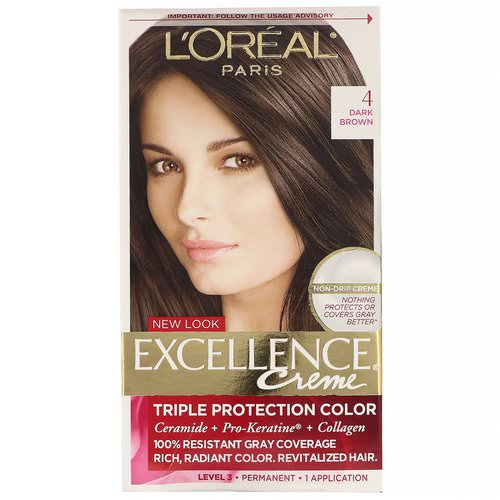 L'Oreal, Excellence Creme, Triple Protection Color, 4 Dark Brown, 1 Application Review