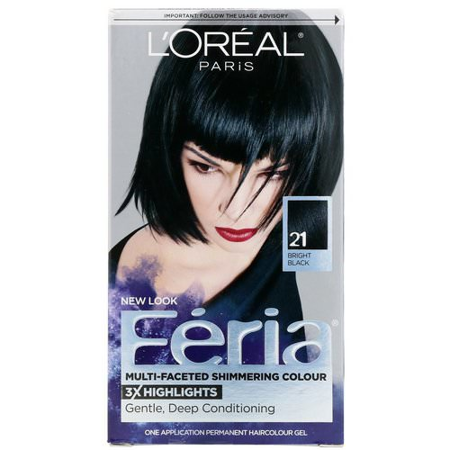 L'Oreal, Feria, Multi-Faceted Shimmering Color, 21 Bright Black, 1 Application Review