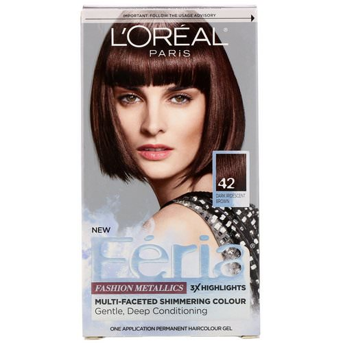 L'Oreal, Feria, Multi-Faceted Shimmering Color, 42 Dark Iridescent Brown, 1 Application Review