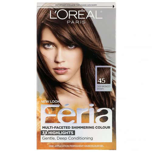 L'Oreal, Feria, Multi-Faceted Shimmering Color, 45 Deep Bronzed Brown, 1 Application Review