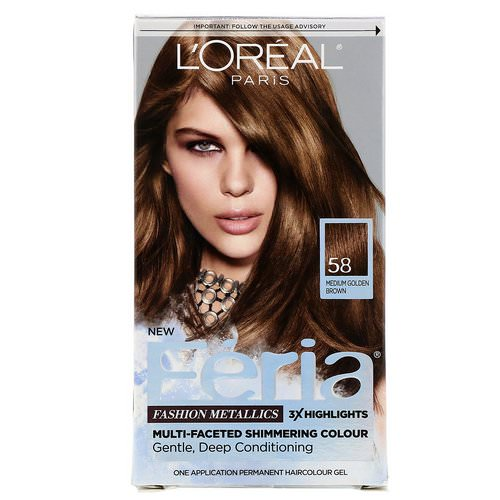 L'Oreal, Feria, Multi-Faceted Shimmering Color, 58 Medium Golden Brown, 1 Application Review