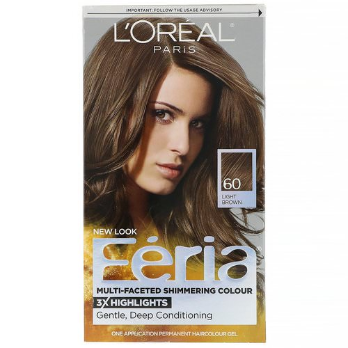 L'Oreal, Feria, Multi-Faceted Shimmering Color, 60 Light Brown, 1 Application Review