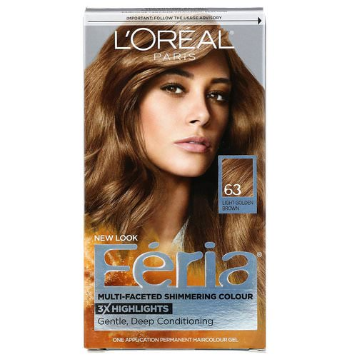 L'Oreal, Feria, Multi-Faceted Shimmering Color, 63 Light Golden Brown, 1 Application Review