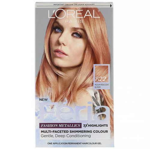 L'Oreal, Feria, Multi-Faceted Shimmering Color, 822 Medium Iridescent Blonde, 1 Application Review