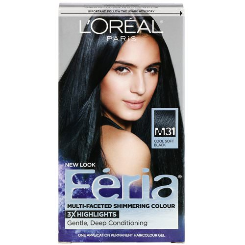 L'Oreal, Feria, Multi-Faceted Shimmering Color, M31 Cool Soft Black, 1 Application Review