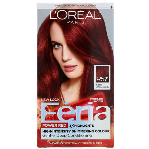 L'Oreal, Feria, Power Red, R57 Intense Medium Auburn, 1 Application Review