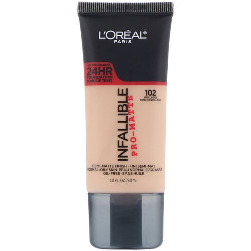 L'Oreal, Infallible Pro-Matte Foundation, 102 Shell Beige, 1 fl oz (30 ml) Review