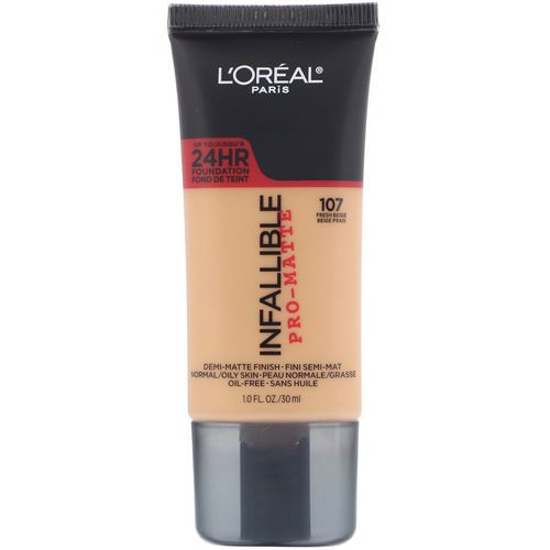 L'Oreal, Infallible Pro-Matte Foundation, 107 Fresh Beige, 1 fl oz (30 ml) Review