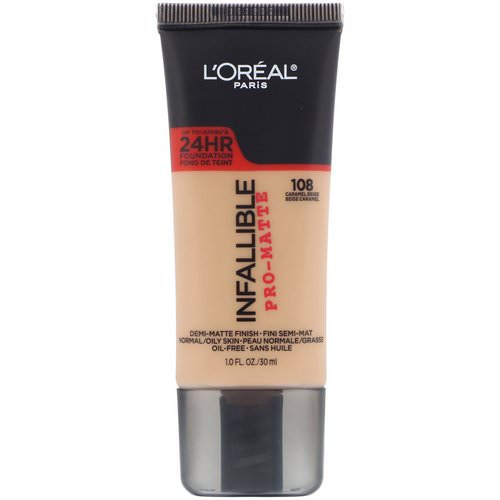 L'Oreal, Infallible Pro-Matte Foundation, 108 Caramel Beige, 1 fl oz (30 ml) Review