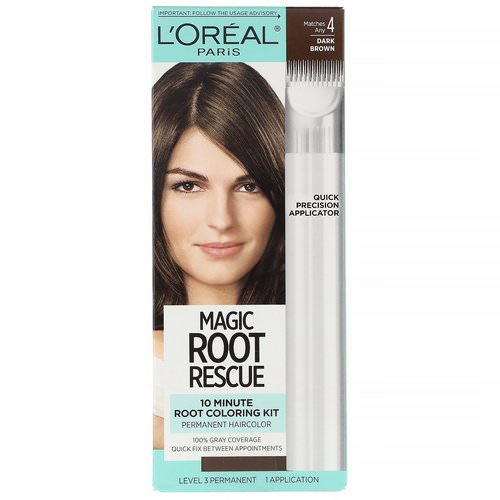 L'Oreal, Magic Root Rescue, 10 Minute Root Coloring Kit, 4 Dark Brown, 1 Application Review