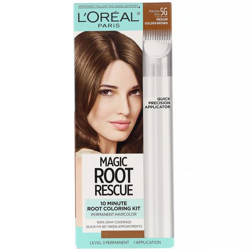 L'Oreal, Magic Root Rescue, 10 Minute Root Coloring Kit, 5G Medium Golden Brown, 1 Application Review
