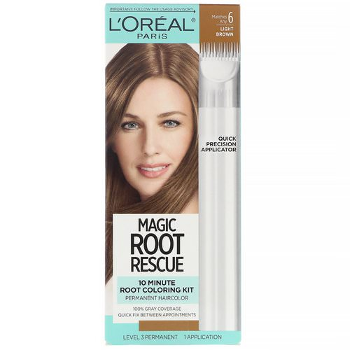 L'Oreal, Magic Root Rescue, 10 Minute Root Coloring Kit, 6 Light Brown, 1 Application Review