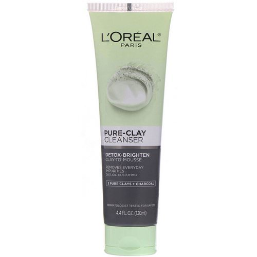 L'Oreal, Pure-Clay Cleanser, Detox-Brighten, 3 Pure Clays + Charcoal, 4.4 fl oz (130 ml) Review