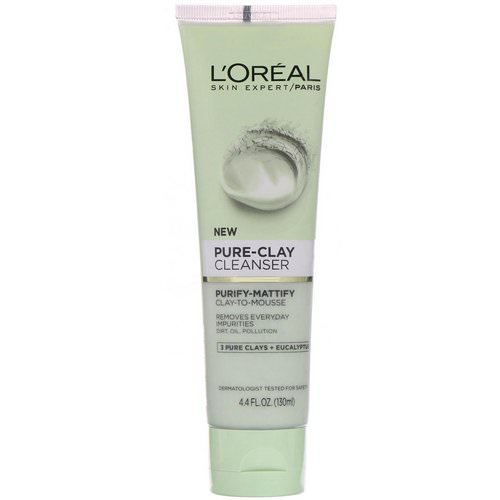 L'Oreal, Pure-Clay Cleanser, Purify-Mattify, 3 Pure Clays + Eucalyptus, 4.4 fl oz (130 ml) Review