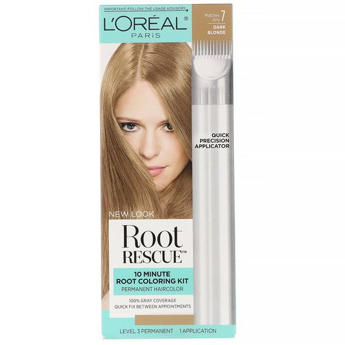 L'Oreal, Root Rescue, 10 Minute Root Coloring Kit, 7 Dark Blonde, 1 Application Review