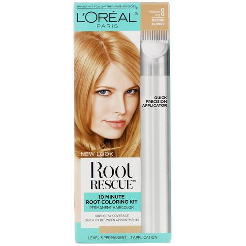 L'Oreal, Root Rescue, 10 Minute Root Coloring Kit, 8 Medium Blonde, 1 Application Review