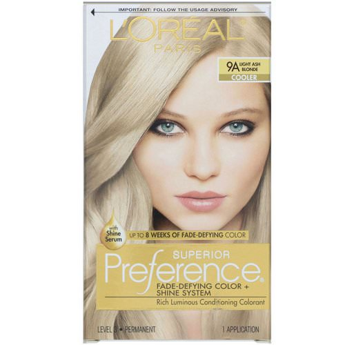 L'Oreal, Superior Preference, Fade-Defying Color + Shine System, Cooler. Light Ash Blonde 9A, 1 Application Review