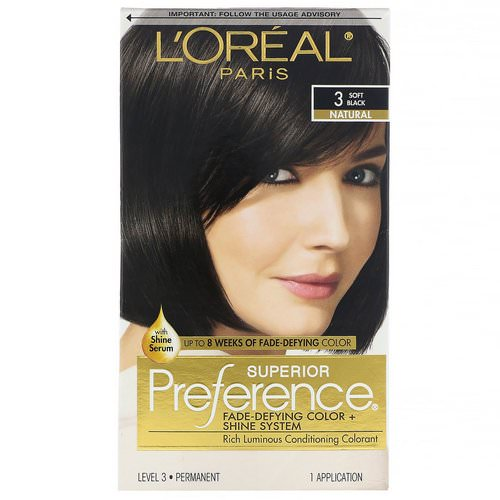 L'Oreal, Superior Preference, Fade-Defying Color + Shine System, Natural, 3 Soft Black, 1 Application Review