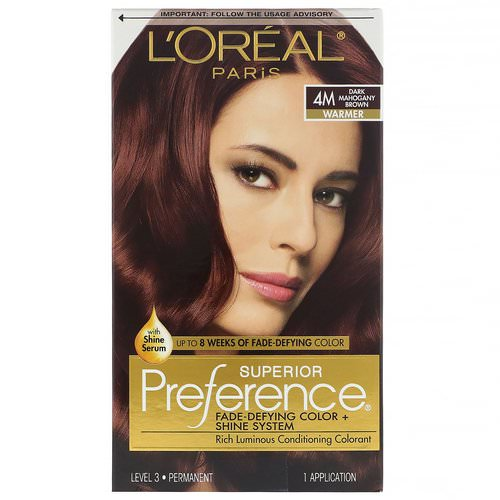 L'Oreal, Superior Preference, Fade-Defying Color + Shine System, Warm, 4M Dark Mahogany Brown, 1 Application Review
