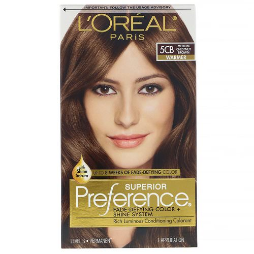 L'Oreal, Superior Preference, Fade-Defying Color + Shine System, Warmer, 5CB Medium Chestnut Brown, 1 Application Review