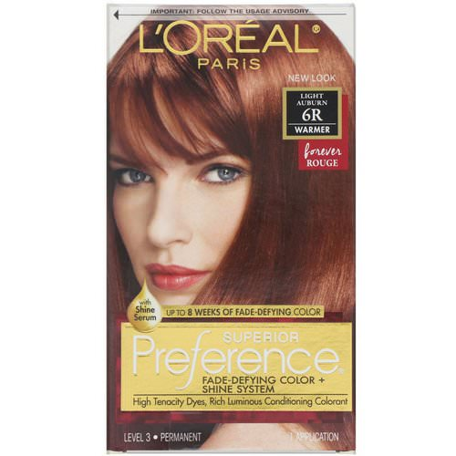 L'Oreal, Superior Preference, Fade-Defying Color + Shine System, Warmer, Light Auburn 6R, 1 Application Review