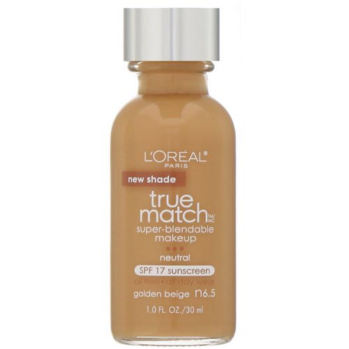 L'Oreal, True Match Super-Blendable Makeup, SPF 17, N6.5 Golden Beige, 1 fl oz (30 ml) Review