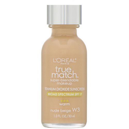L'Oreal, True Match Super-Blendable Makeup, W3 Nude Beige, 1 fl oz (30 ml) Review