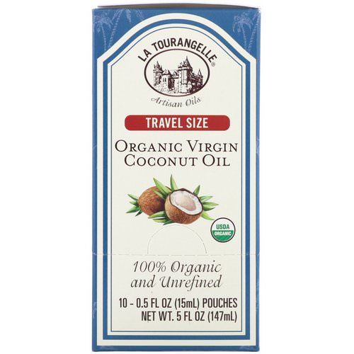 La Tourangelle, 100% Organic and Unrefined, Organic Virgin Coconut Oil, Travel Size, 10 Pouches, 0.5 fl oz (15 ml) Each Review