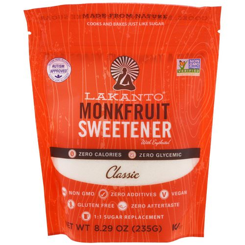 Lakanto, Monkfruit Sweetener with Erythritol, Classic, 8.29 oz (235g) Review
