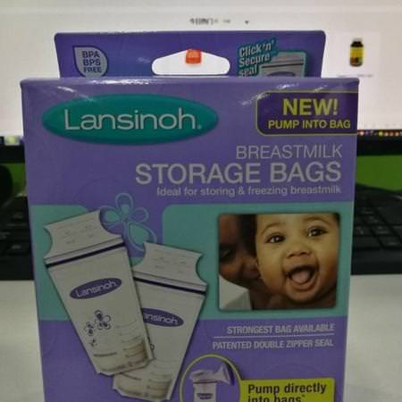 Lansinoh 25 Breast Milk Storage Bags Leak Proof Baby Feed Freeze Storing Pouches
