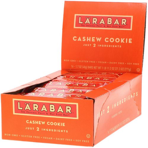 Larabar, Cashew Cookie, 16 Bars, 1.7 oz (48 g) Each Review