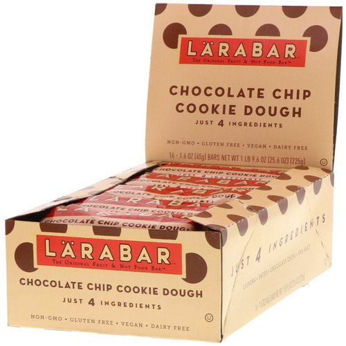 Larabar, Chocolate Chip Cookie Dough, 16 Bars, 1.6 oz (45 g) Each Review