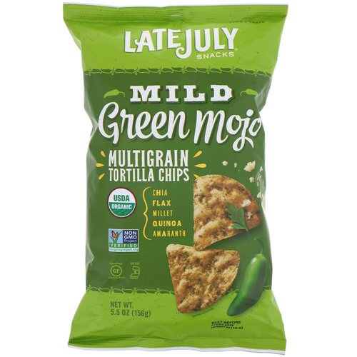 Late July, Multigrain Tortilla Chips, Mild Green Mojo, 5.5 oz (156 g) Review
