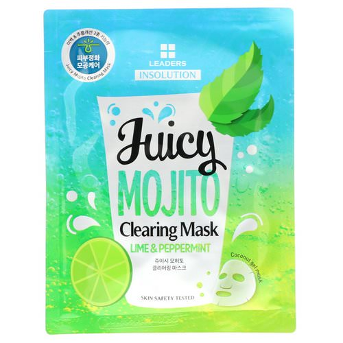 Leaders, Insolution, Juicy Mojito Clearing Mask, Lime & Peppermint, 1.01 fl oz (30 ml) Review